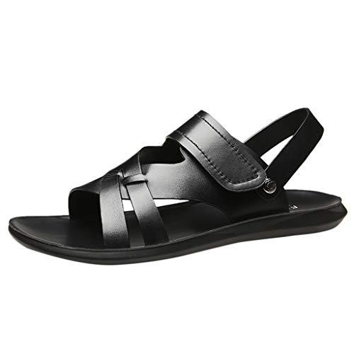 iLPM5 Herren Sommer Leder Strand Sandalen Casual rutschfeste Hausschuhe Mode Atmungsaktive Flip Flops Schuhe Outdoor Wandersandalen(A_Schwarz,43)