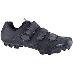 LUCK Zapatillas de Ciclismo Matrix Revolution MTB, con una estupenda Suela de Carbono Muy Ligera y rígida y Triple Velcro para un Ajuste (43 EU, Negro)