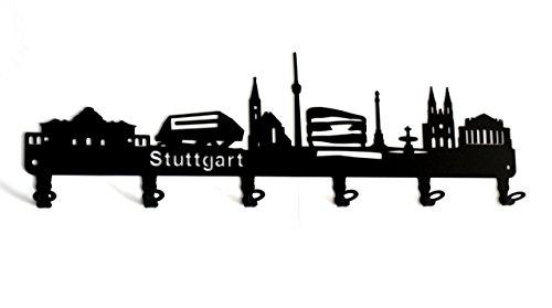 steelprint.de Wandgarderobe - Skyline Stuttgart - Flurgarderobe Baden-Württemberg - Kleiderhaken, Hakenleiste, Garderobeneiste, Garderobenhalter, Garderobe - Metall, Schwarz
