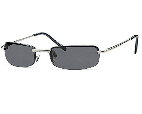 Sonnenbrille rechteckig Herren Gangster Cool Trend Sonnen Brille graue Gläser Federscharnier sb06 (silbergestell)