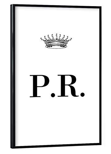 artboxONE Poster mit schwarzem Rahmen 30x20 cm Buchstaben Queen PR - Bild Personalisierung Initialien Buchstabe