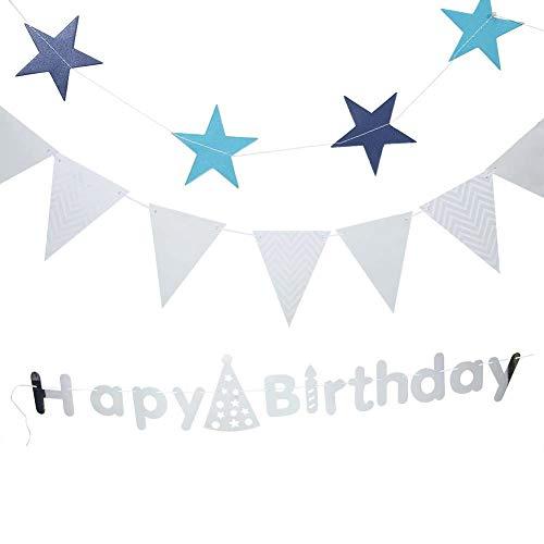 Pasamer Alles Gute zum Geburtstag Banner Set, Geburtstag Paty Dekoration, Inneneinrichtungen, Silber/Gold(Silber)