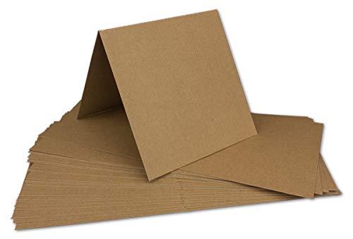 20 Kraftpapier-Karten Set Quadratisch Falt-Karten Natur-Braun 13,5 x 13,5 cm - 220 g/m² mit Brief-Umschlägen Quadratisch 14 x 14 cm - 90 g/m² Naturbraun (Kraftpapier)