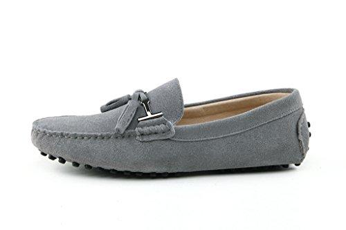 Minitoo Men's Driving Herren Slipper, Veloursleder, Tassel Penny Boat, Schuhe Grigio (Grigio chiaro)