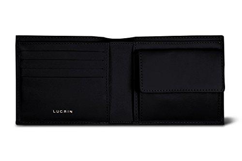 Lucrin - Standardportemonnaie - Braun - Glattleder Schwarz
