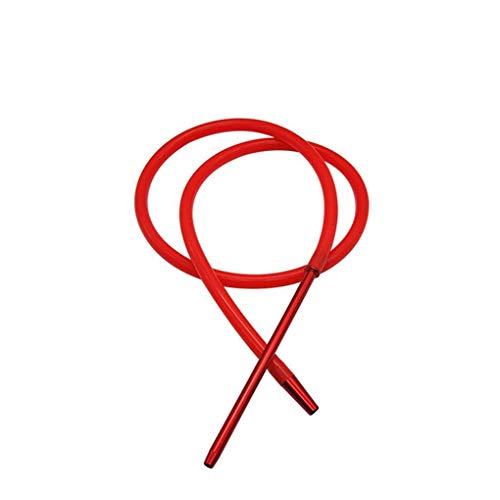 AK.SSI 1.8 M Hookah Shisha manguera con tubo de aluminio manguera de silicona Shisha Hookah manguera moderna tubería 1pcs (rojo)