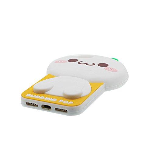 """iPhone 6s Hülle, TPU Dauerhaft Weich Shell Flexible iPhone 6 / 6S Handyhülle Cover 4.7"""" Staubdicht (3D Cartoon Schwein Stripe) - rosa Weiß"""