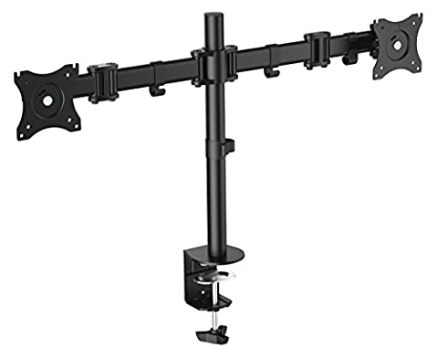 RICOO Support double ecran TS5811 Support de bureau orientable inclinable double ecrans PC 2 ecrans TV Support VESA 75x75 & VESA 100x100 support universel compatible toutes marques ecran plat