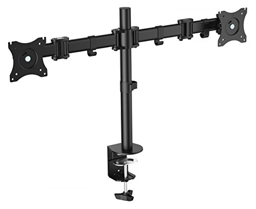RICOO Monitor Tischhalterung für 2 Monitore Monitorhalterung TS5811 Monitorständer Schwenkbar Neigbar Höhenverstellbar Bildschirmständer Tisch Ständer Monitorhalterungen VESA 75x75 100x100 / Schwarz