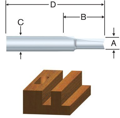 Vermont American 23103 1/4-by-1-Inch Carbide Tipped Straight Router Bit, 2-Flute 1/4-Inch Shank by Vermont American -