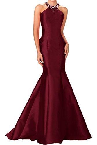 Charmant Damen Schwarz Elegant Meerjungfrau Taft Damen Abendkleider Festlichekleider Partykleider lang Burgundy