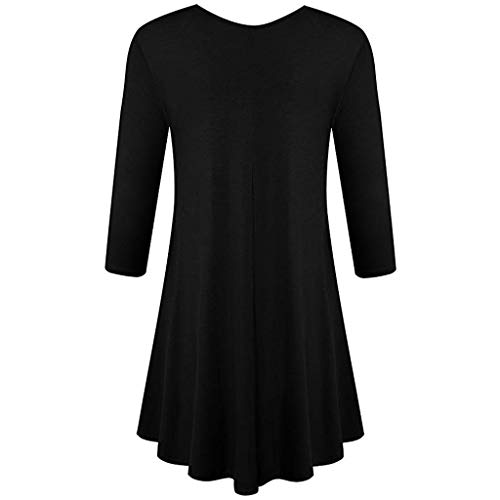 Damen - Dreiviertelhülse - Loose Fit - Swing - Tunika - Tops - Basic - T - Shirt - Bluse