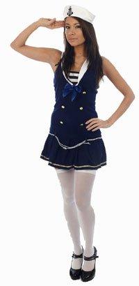 Sexy Blue Sailor Ladies Fancy Dress Costume Medium New