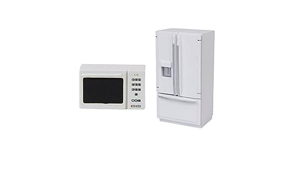 1:12 Puppenhausmöbel Miniature Holz Kühlschrank und Mikrowelle Modell 2