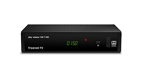 Sky Vision 150 T-HD DVBT2 Digital Receiver (freenet TV, Antennen-Fernsehen, Antennen-Receiver, HEVC, HDMI, USB 2.0, LAN, SCART, DOLBY® DIGITAL PLUS) schwarz