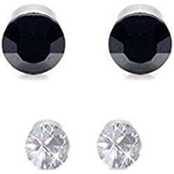 Menjewell Imported Black & White Magnetic Stainless Steel Stud Earrings For Non-Pierced Ears(Pairs Of 2)