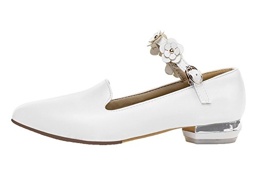 Leggere Donna Basso Solido Tacco Scarpe Bianco Fibbia Cuoio Colore Voguezone009 7YdxwzwtqZ