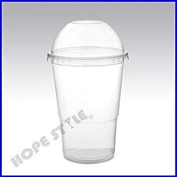 100 X Trasparente Bicchieri Di Plastica Succo Di Frutta Smoothie Milkshake + Cupola & Piatto Coperchi Resistente - 10oz + Dome Lids