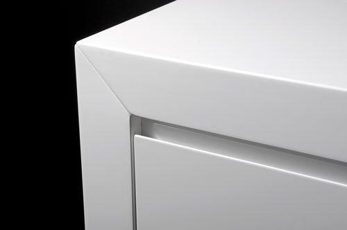 Kommode in Hochglanz weiß lackiert, 3 Schubladen mit Selbsteinzug und 1 Schranktür, Maße: B/H/T ca. 106/90/40 cm - 2