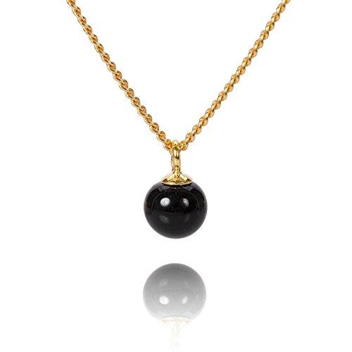 Louise Kragh Damen Halskette Pearl Mini Perle Anhänger Porzellan schwarz Sterling Silber vergoldet - N-MPE0102Sg