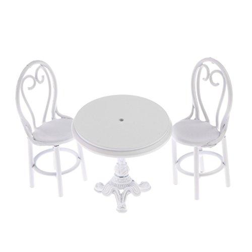 MagiDeal Miniatura Mobili Tavolo Da Pranzo Sedie Set Decorazione Casa Domestica Bambole Accessori Metallo Bianco