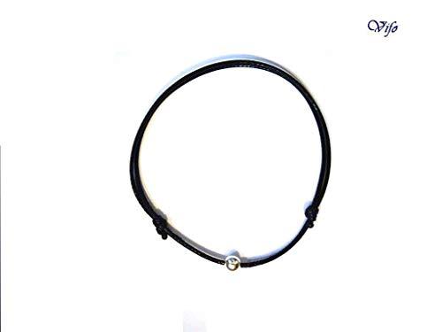 Bracelet cordon noir, Bracelet minimaliste, Cordon nœuds coulissants, Bracelet Porte bonheur, Bijou Homme Enfant Femme, Bracelet zen, argent 925, perle argent réglable 14.50 cm - 20.00 cm