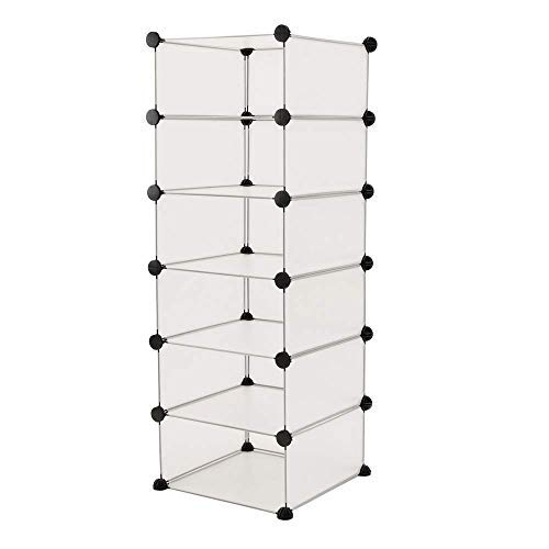 PrimeMatik - Armario Organizador Modular Estanterías de 6 Cubos de 17x35cm plástico Blanco