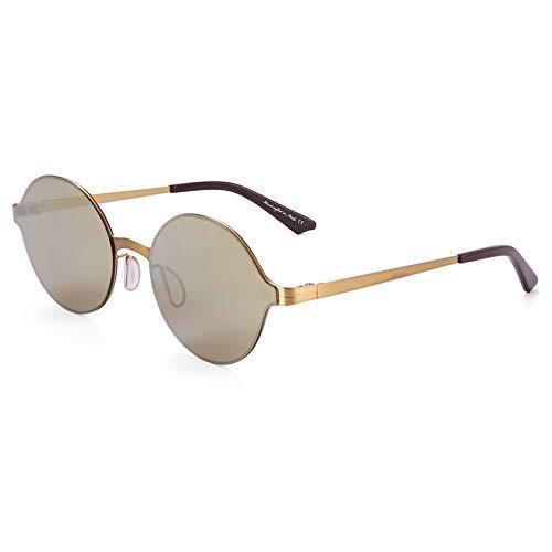 LKVNHP Neue Art UndWeise DerQualitäts -Super Light Sonnenbrille Männer Und Frauen Verspiegelung Sonnenbrille Runde Kreis-Gläser Retro VintageGold -Gold -Vs