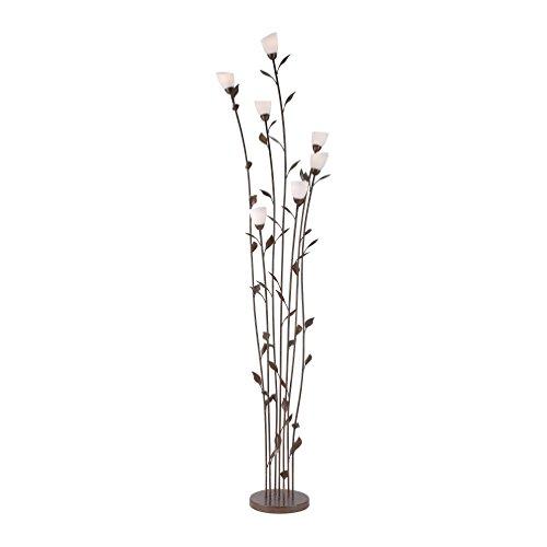 Landhaus-Leuchte, rustikale Astleuchte mit Blättern Ranken, Fassung G9 LED fähig, Rost-Optik (Stehleuchte) - In Antik-braun-tisch-lampe