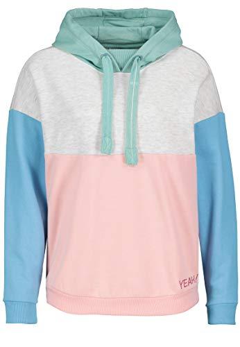 Stitch & Soul Damen Colorblock Sweatshirt mit Kapuze Rose L Colorblock Pullover Hoody