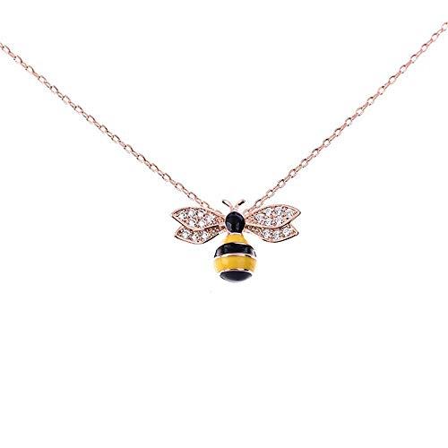 SEBAS Home Damenmode 925 Sterling Silber Anhänger Halskette schöne süße Biene Anhänger Halskette mit Schmuck dekoriert 100
