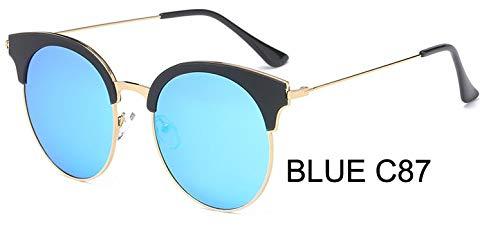 LKVNHP Marke Kunststoff Titanium Rahmen 23g polarisierte Sonnenbrille Frauen cat EyeMode uv beschützer hd Brille Spiegelweiblichewpgj090 blau c87