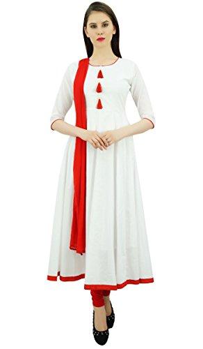 Atasi Damen Designer Anarkali White Salwar Anzug Ethnic Indian Cotton Dress-40 -