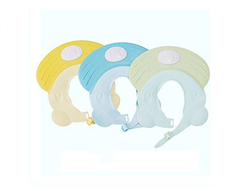 Enfants Bébé Cap Shampooing Shampoo Cap bébé Douche Bonnet de douche de Elastomers oreille en silicone étanche peut être ajustée ( couleur : Bleu )