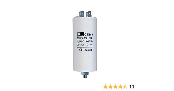 Kondensator Mit Steckfahnen Und Befestigungsschraube Cbb60 25 00µf 450 Volt Küche Haushalt