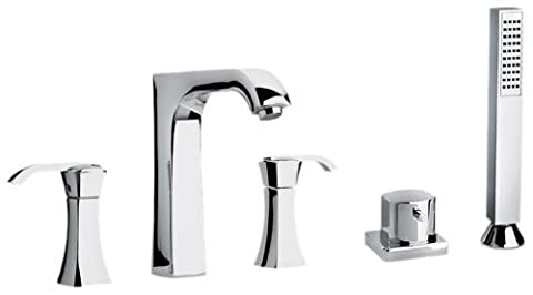 Jewel Faucets 11109 Chrome Two Lever Handle Roman Tub Faucet and Hand Shower with Arched Spout by Jewel Faucets