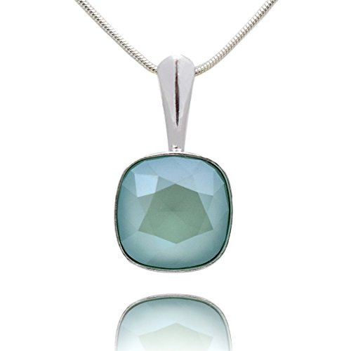 IELE FARBEN* *SQUARE* - Anhänger mit Silberkette aus 925 Silber mit original Swarovski® Elements - Halskette mit Schmucketui (Mint Green) ()