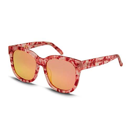 ZXW Sonnenbrillen- Sonnenbrille Hipster Persönlichkeit Retro Runde Rahmen Big Box Sonnenbrille Weibliche Gezeiten Brille (Farbe : Red, größe : 14.5x14.8x5.7cm)