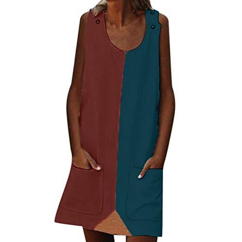 LOPILY Tunika Damen Große Größen Zweifarbige Blusenkeid Taschen Sommerkleid Lose Atmungsaktives Umstandkleid Knielang Sommerkleid für Mollige Ärmellos Strandkleid (X3_Rot, EU-36/CN-M) (Wo Ich Kann Ein M Kaufen)