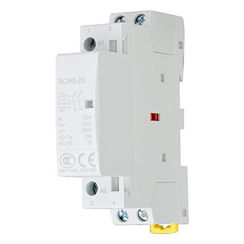 Haushalts-Wechselstromschütz, 2P 20A 24V 220V / 230V 50 / 60Hz Haushalts-Ersatz-Kondensatorschütz, 2polige DIN-Schienenmontage(220 V / 230 V) - 60 Hz Ersatz
