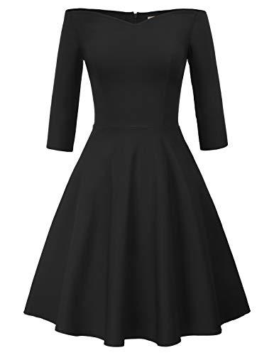 GRACE KARIN Robe Plissée Femme Épaule Nue Manche 3/4 Moulante Noir L CL823-1