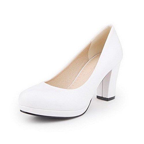 VogueZone009 Femme à Talon Haut Tire Couleur Unie Matière Souple Rond Chaussures Légeres Blanc