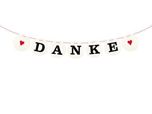 renna deluxe Danke Girlande Rot für die Vintage Hochzeit Hochzeitsgirlande für Hochzeit-Shooting Dekoration Hochzeitsdeko Geschenketisch