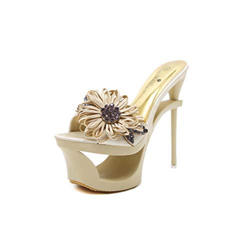 DUQI22 Frauen Plattform Sandale, klare High Heels Damen Pole Dance Pumps Sandal Stripper,Gold,38EU