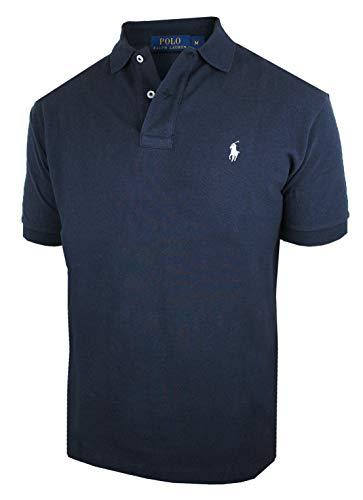 RALPH LAUREN Herren kurzarm Poloshirt Classic Fit C8312 (L, blau)