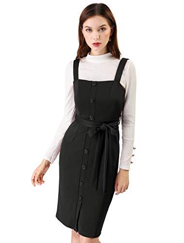Allegra K Damen Slim Fit Button Dekor Bindegürtel Trägerkleid Kleid Schwarz XS (EU 34)