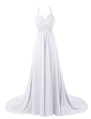 Dresstells, Robe de soirée de mariage/cérémonie/mère de mariée bretelles spaghetti forme empire traîne moyenne avec emperler sequins Blanc