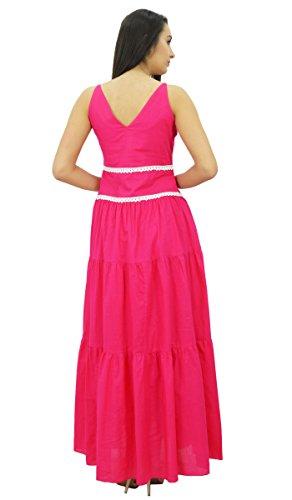 Bimba v-cou coton casual maxi robe en dentelle robe été sans manches des femmes Fuchsia