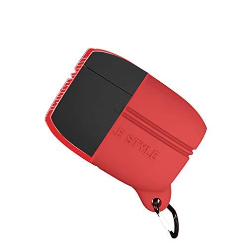 JIJI886 pour Jabra Elite Active 65t écouteurs Bluetooth Protecteur Coque, Jabra Elite Active 65t Casque, Protection Silicone Case, Antichoc Anti-Perdu Sangle, Mousqueton Casque Accessoires (Rouge)
