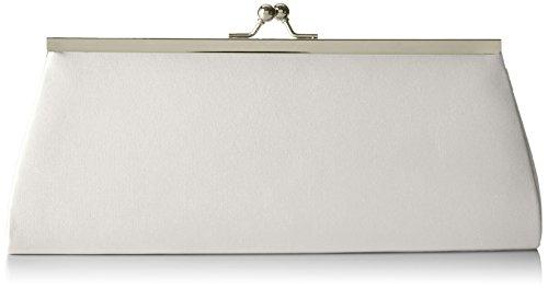 Berydale Damen Satin Handtasche, Clutch Schultertasche mit Zusatzkette und Metallbügel mit Schnappverschluss, Elfenbein -